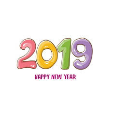 2019 Happy New Year poster design template. Vector happy new year greeting illustration with colored hand drawn 2019 numbers and stars isolated on white background