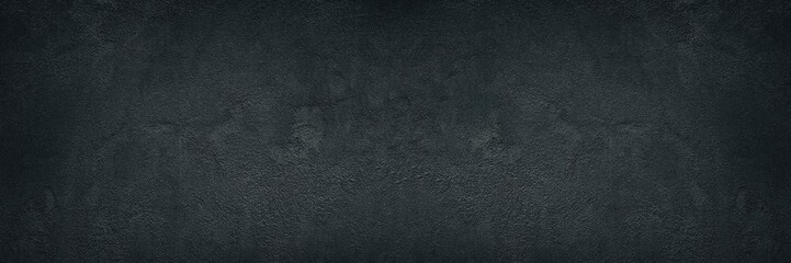 Photo sur Plexiglas Mur Black rough concrete wall wide texture - dark grunge background