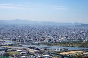 Cityscape of Tsumeta river in Takamatsu city,Kagawa,Shikoku,Japan