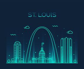Fototapete - St. Louis city skyline Missouri USA vector linear
