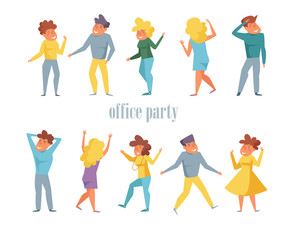 Office party Set with dancing people Vector. Cartoon. Isolated art Flat