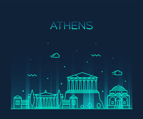 Fotomurales - Athens skyline, Greece. vector linear style city
