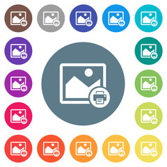 Print image flat white icons on round color backgrounds