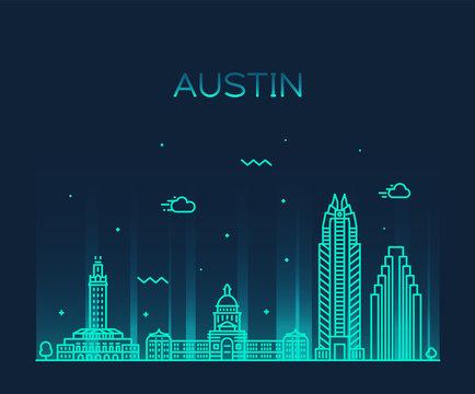 Austin skyline, Texas, USA. vector linear style