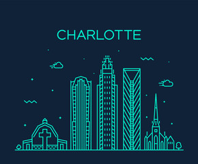Wall Mural - Charlotte city skyline, North Carolina, USA vector