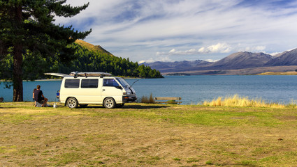 relaxing on the shores of Lake Tekapo, New Zealand