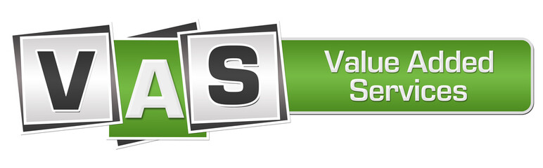 VAS - Value Added Services Green Grey Squares Bar