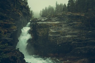 Wall Mural - Raw Foggy Waterfalls