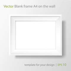 A4 Blank white frame on white wall. Vector template