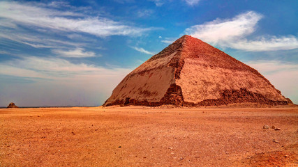 Panoramic view to Bent Pyramid of Sneferu Pharao at Dahsur, Egypt