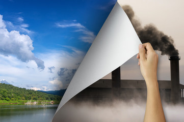 Fototapeta Pollution change concept.