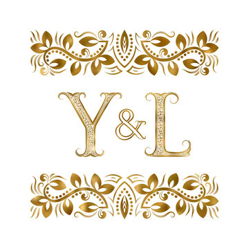Y and L initials vintage logo. The letters surrounded by ornamental elements. Wedding or business partners monogram in royal style.