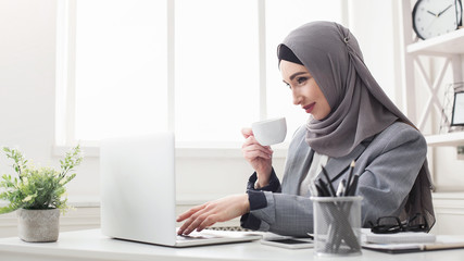 Young saudi business woman working in the office