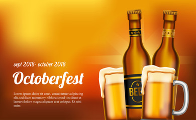 octoberfest poster template with glass and bottle beer. vector illustration.