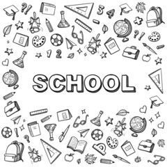 black and white school vector school banner with hand drawing icons