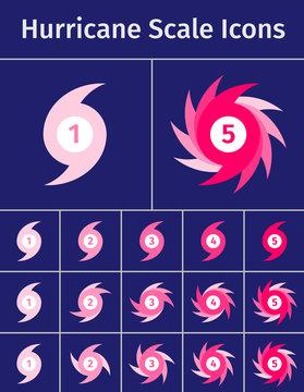 Set of hurricane scale icons