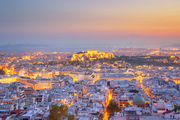 Evening View of beautiful Athens, Greece