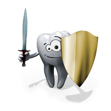 Tooth with sword and shield