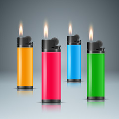 Set four color lighter with fire. Vector eps 10