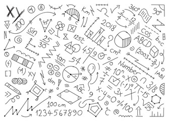 mathematical symbols and shapes. math world hand drawing vector illustration