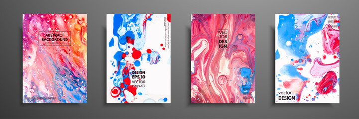 Mixture of acrylic paints. Liquid marble texture. Fluid art. Applicable for design cover, presentation, invitation, flyer, annual report, poster and business card, desing packaging. Modern artwork. Fotomurales