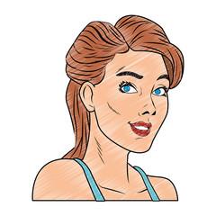 Woman profile pop art cartoon vector illustration graphic design