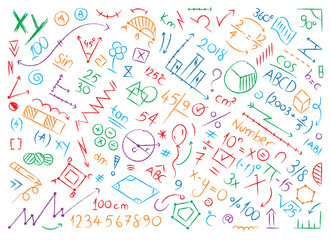 mathematical symbols and shapes. colored math world hand drawing vector