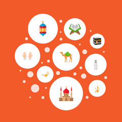 Set of holiday icons flat style symbols with kaaba, oriental jug, lantern and other icons for your web mobile app logo design.