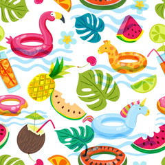 Summer beach or swimming pool seamless pattern. Vector doodle illustration of inflatable kids toys, fruits, cocktails, tropical palm leaves. Trendy design for fashion textile print.