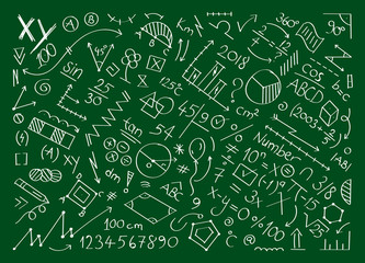mathematical symbols and shapes. math world hand drawing with green floor vector