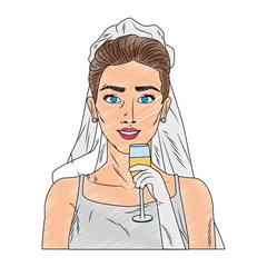 Bride with champagne cup pop art cartoon vector illustration graphic design