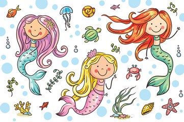Cartoon mermaid and sea life set, vector