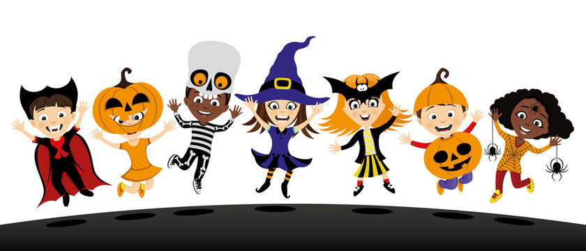 Group of children in costumes for halloween on white background.
