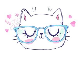 Fotoväggar - Hand Drawn Cute Cat with glasses. Design sketch cat, children print on t-shirt girl