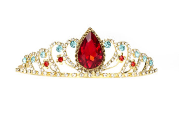 Wall Mural - gold diadem with red ruby stone isolated on white