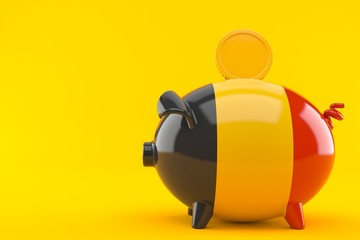 Piggy bank with belgian flag