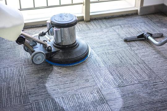 floor care with machine