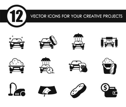 car wash vector icons for your creative ideas