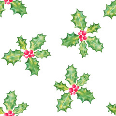 Holly branch with berries for Christmas holiday season on white background seamless pattern, watercolor illustration