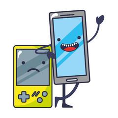 video game portable with smartphone kawaii