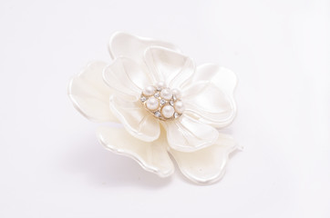 Wall Mural - Brooch flower with pearls isolated on white