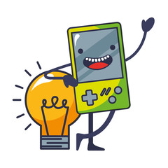 video game portable with light bulb kawaii