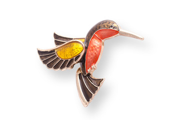 Wall Mural - enamel brooch with Hummingbird isolated on white