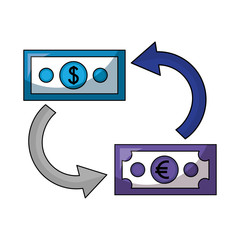 dollar and euro money with arrows isolated icon