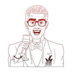 Groom with glasses and champagne cup pop art cartoon vector illustration graphic design icon