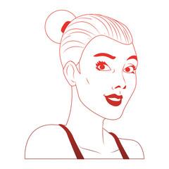 Woman afro profile pop art cartoon vector illustration graphic design