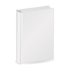 Blank vertical cover of the book. Isolated on white background. 3D Mockup to display your design. Vector