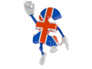 Pound currency character jumping in joy