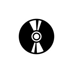Compact Disc. Flat Vector Icon illustration. Simple black symbol on white background. Compact Disc sign design template for web and mobile UI element
