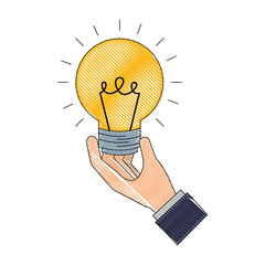 hand holding light bulb idea creativity